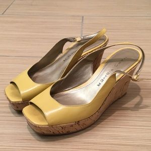 MARC FISHER Wedges in Yellow Leather